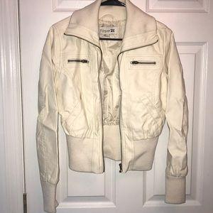 Cream leather jacket forever 21